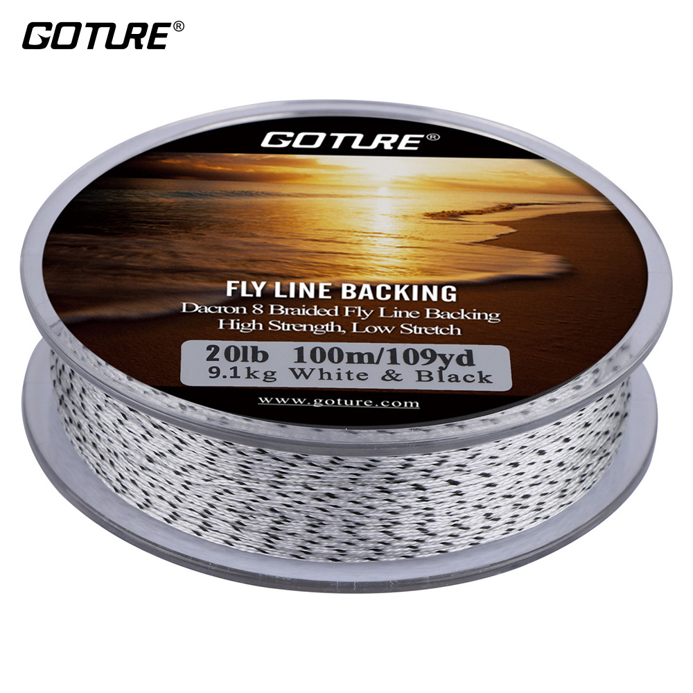 Goture 20LB Fly Line Backing 100M/109Yrd 8 Strands Dacron Braided Line Yellow&Black Double Color Backing Line for Fly Fishing(China (Mainland))