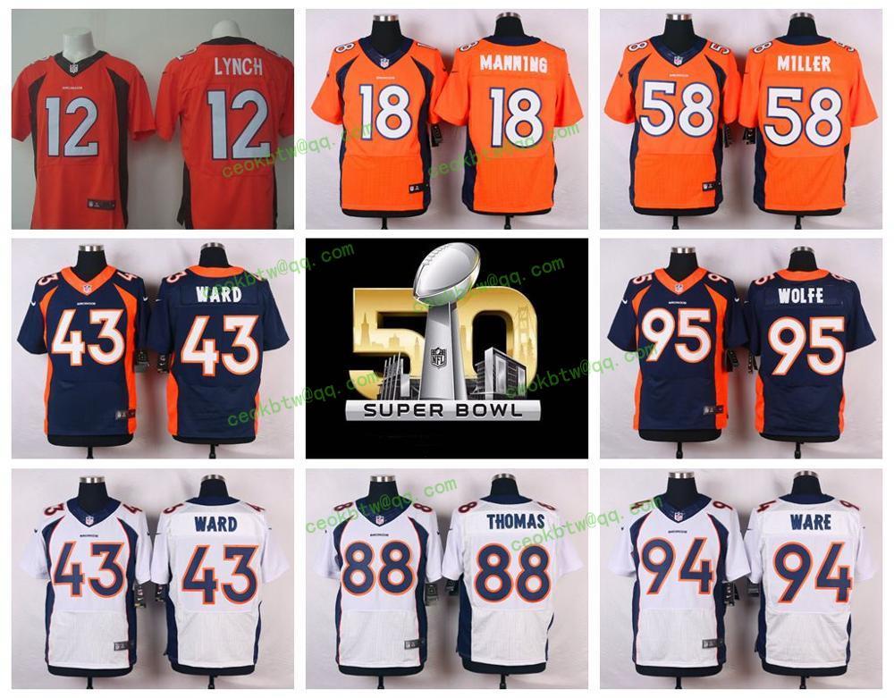 Denver Broncos Peyton Manning, Von Miller, Demarcus Ware, Demaryius Thomas, Derek Wolfe, Paxton Lynch ile the 50th SB patch(China (Mainland))
