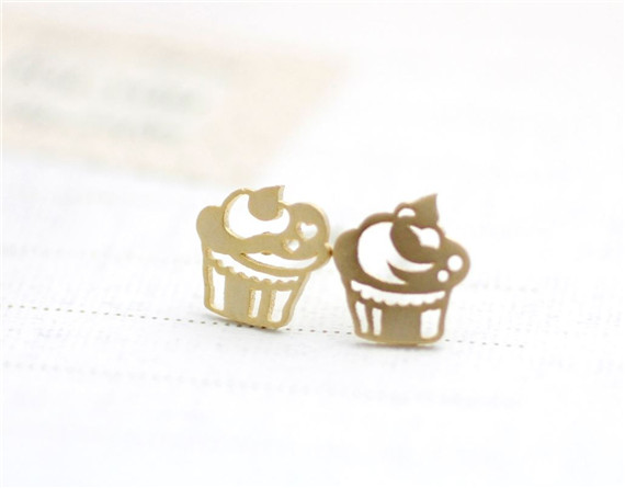 30pcs Kids Jewelry 18k Gold Silver Punk Cupcakes Stud Earring Fashion Fun Stainless Steel Earrings Brithday Gift