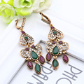 Fashion Vintage Turkish Earrings Antique Water Drop Gold Plated Earrings Women Arabesque Ethnic Engagement Party Festival