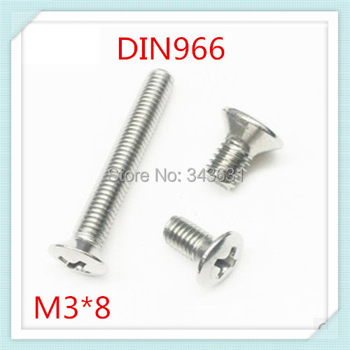 100PCS DIN966  Stainless Steel 304 M3*8 Cross Recessed Countersunk raised head screws (the oval head screw)<br><br>Aliexpress