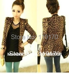 S M L XL XXL Free shipping Vintage Spring Autumn Women Leopard Jacket Slim Fit One Button With Shoulder Pad Suede Outwear