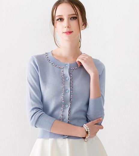 Fashion spring beading Cashmere Sweater Women white Cardigan Sweater Female O-Neck Knitted Coat Slim Sweater Plus Size(China (Mainland))