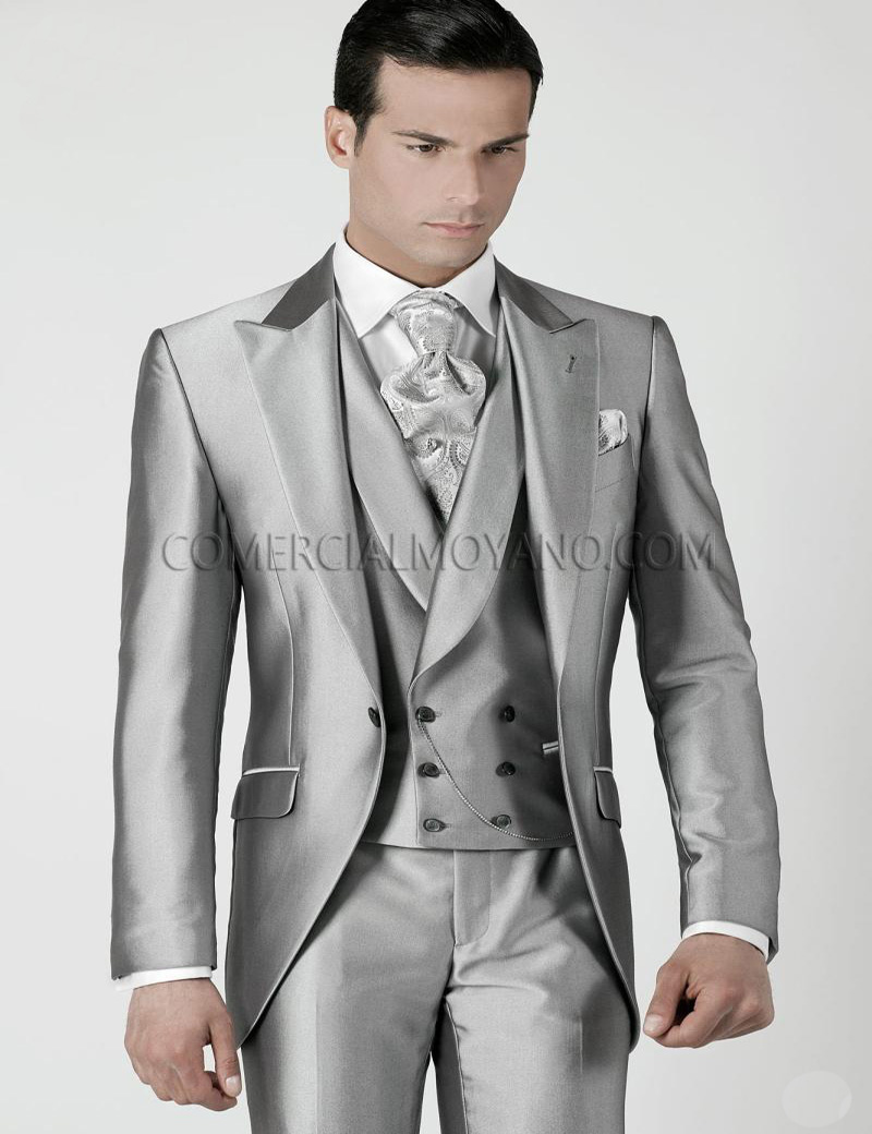 Mens Wedding Suits 2015 Silver Grey Prom Tuxedos Jacket+Pants+Tie+Vest Custom Made Wedding Tuxedos Groomsmen Suits