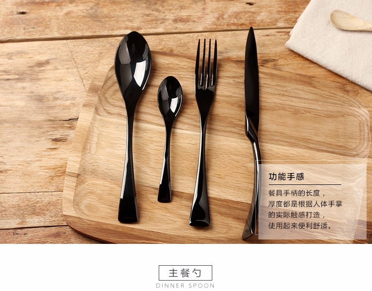 Buy 24 pcs black western food dinnerware set top quality stainless steel Dinner knife and fork and spoon teaspoon cutlery set cheap