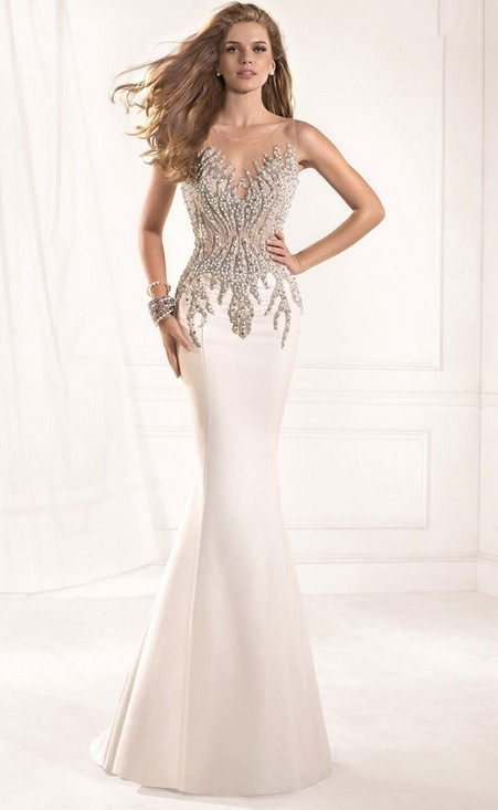 Long off white evening dress - Dress on sale
