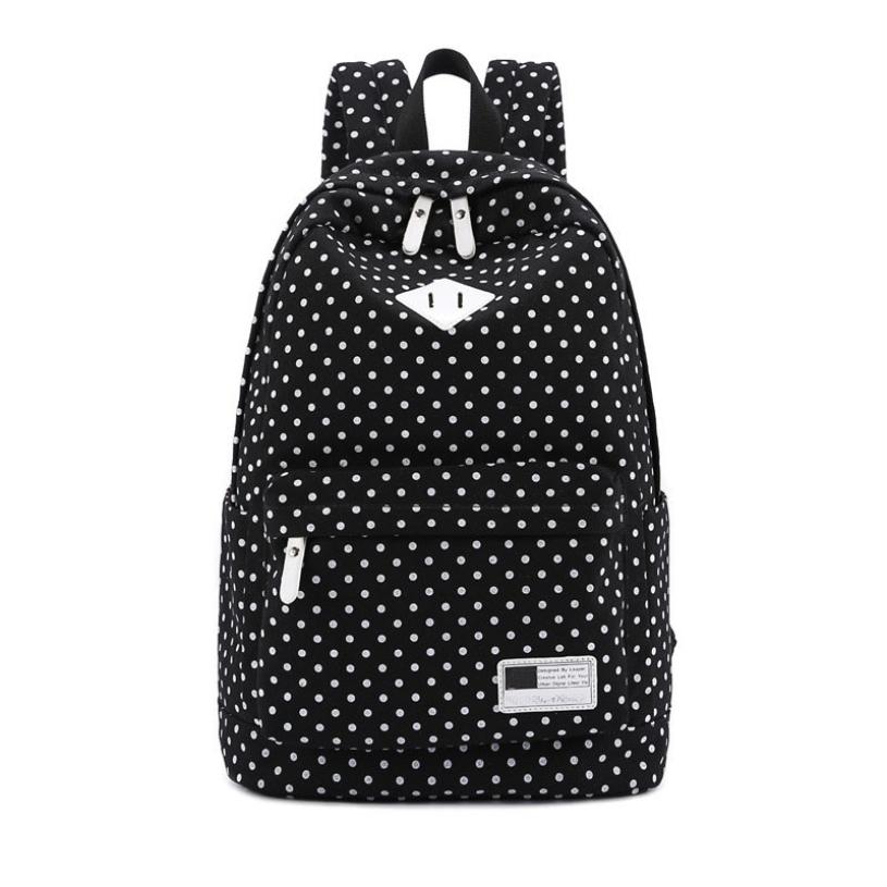 Brand new 2015 fashion women girls Canvas Backpack Polka Dot School Shoulder Bag Travel Rucksacks(China (Mainland))