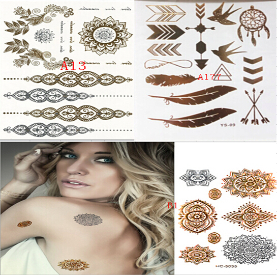 1000 style body art painting tattoo stickers glitter Metal gold silver temporary flash Disposable indians tattoos tatoo - fine accessory store