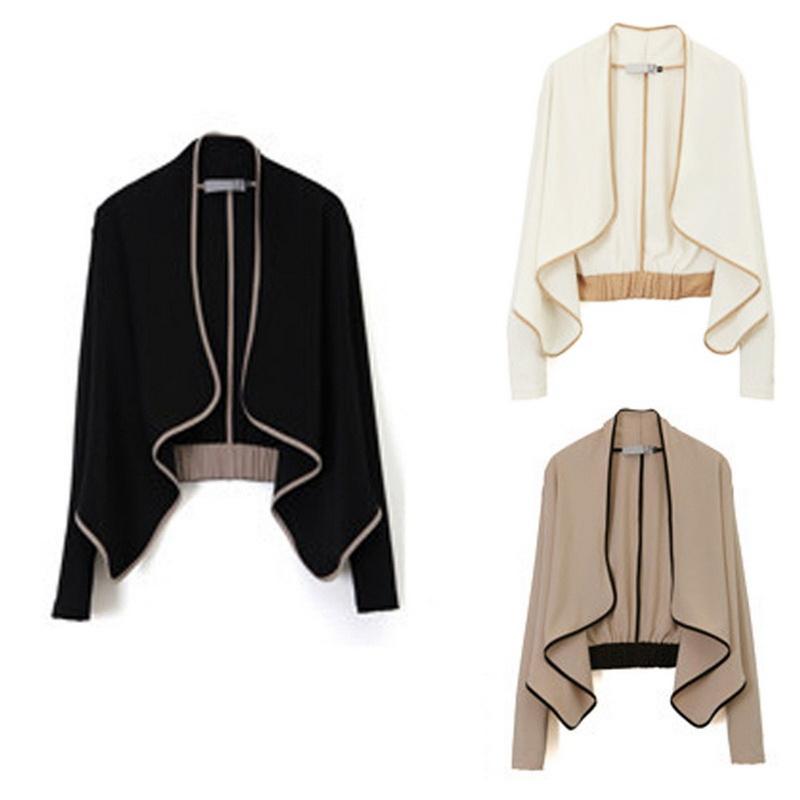 Весна осень женщины пальто с подплечники с длинным рукавом ударил европейский стиль короткая куртка 1 шт.