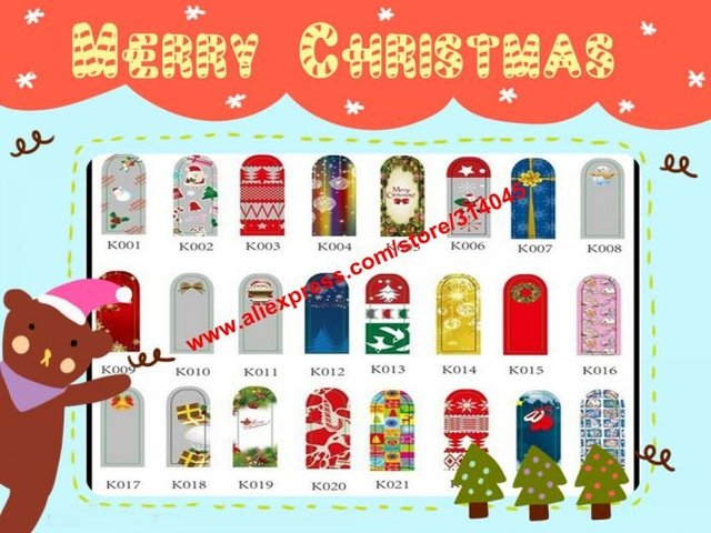 Free Express New SANTA CLAUS Designs XMAS Self Adhesive Minx Styles Christmas Metallic Nail Foil Decals Stickers