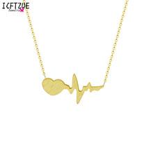 Ze stali nierdzewnej serce strzałka wisiorki złoty kolor Erkek Kolye One Direction bicie serca naszyjnik dla kobiet oświadczenie Boho biżuteria(China)
