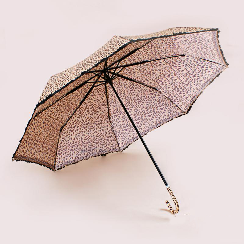 The sun umbrella thirty percent rain or shine The leopard falbala umbrella Sunshade hook handle(China (Mainland))