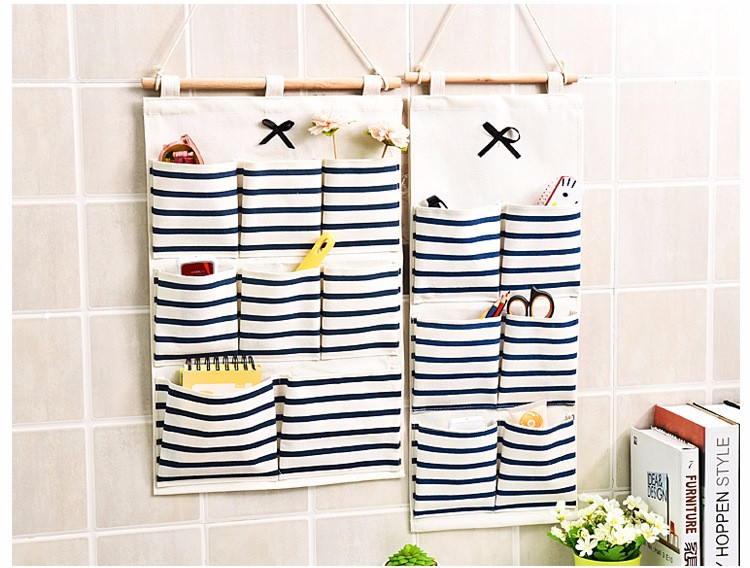 Sundry Cotton Wall Hanging Organizer Bag Multi-layer Holder Storage Bag Home Decoration Makeup Rack Linen Jewelry 5 Aad 8 Pocket