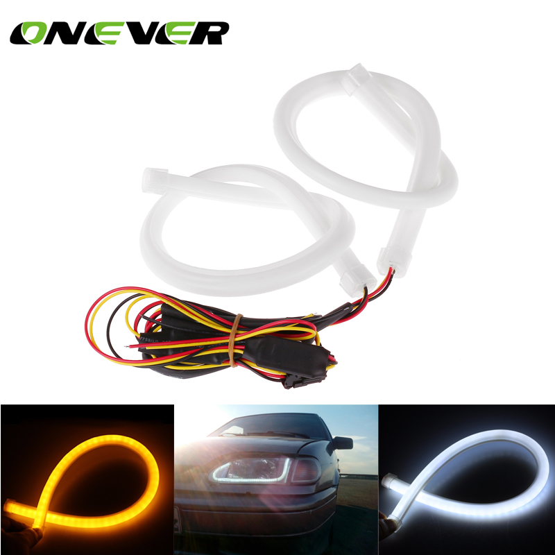 2pcs 45cm Daytime Running Light Universial Flexible Soft Tube Guide Car LED Strip White DRL and Yellow Turn Signal Light(China (Mainland))