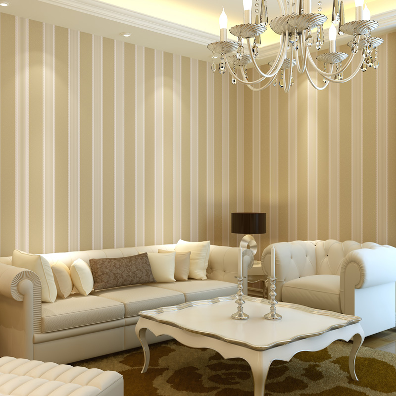 Beige Vertical Stripe 9 Gold Wallpaper Brief Modern Non Woven Wallpaper Bedroom Wallpaper
