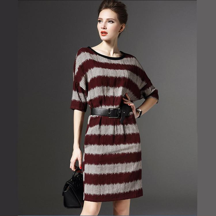 European spring/summer 2016 women's package hip stripe bat sleeve dress wholesale female cotton linen casual dress free shipping(China (Mainland))