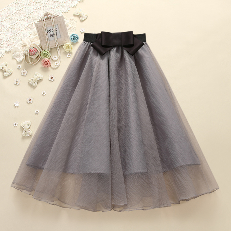 2015 new high waisted eugen yarn bow tulle skirt all match