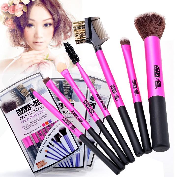 2015 Hot selling 7pc Makeup Brushes Kit Eyeshadow Mascara Blush Eyebrow Sponge Make Up Brush Tool 3 colors 38(China (Mainland))