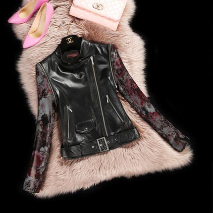 Motorcycle leather jacket women 2015 Spring  Autumn Winter Streetwear Full Regular Mandarin Collar Thin sheep leather DFF170