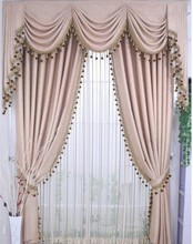 Ready curtain with decorative beads ,3pcs /lot, curtains with hooks/punching/rod pocket , Adjust length for different size(China (Mainland))