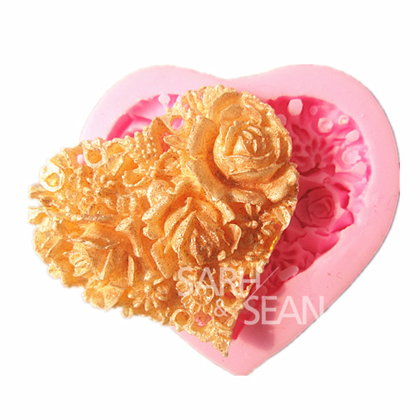 M0861 Rose Flower of Heart Shape Fondant Cake Mold Soap Chocolate Mould for the Kitchen Baking(China (Mainland))