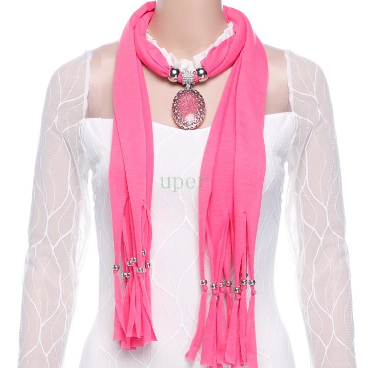 2015 New Arrival Charming Beautiful Fashion Elegant Women Hollow Flower Rhinestone Soft Crystal Pendant Necklace Scarf Shawl(China (Mainland))
