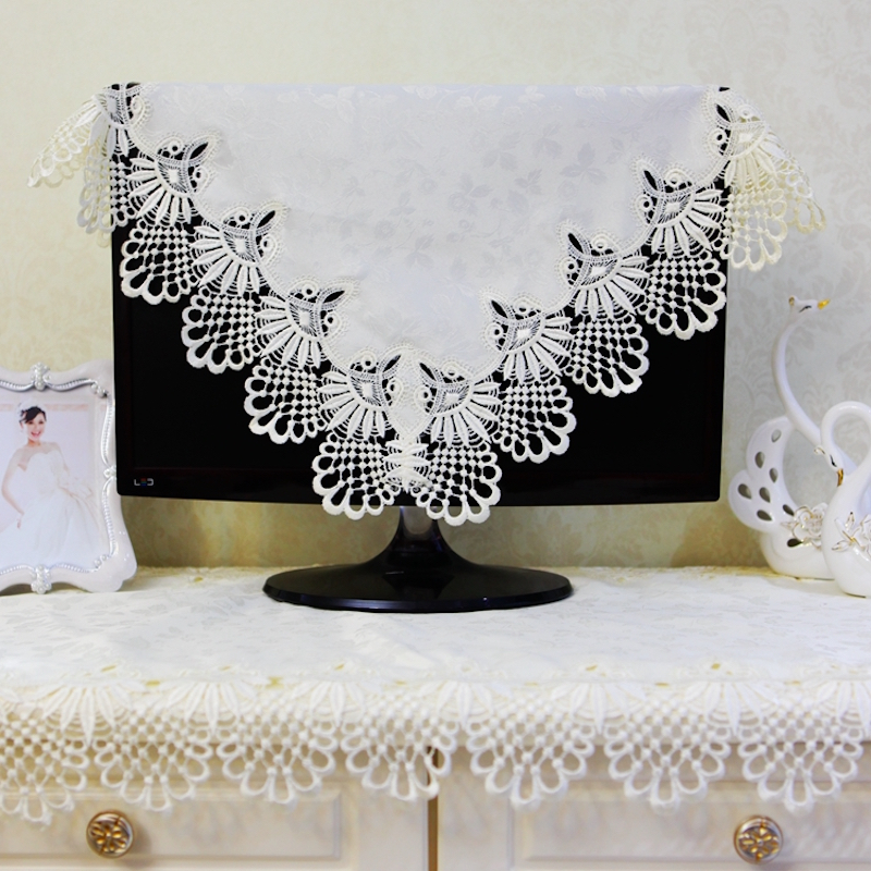 "15"" - 70"" inch TV Dust Cover Decorative Hood Curtain Decor for Flat Screen HD LCD PC Satin Jacquard Embroidered Hollow out White(China (Mainland))"