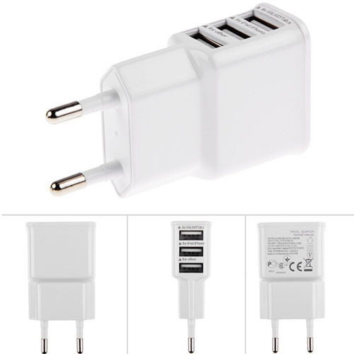 one color 3 Ports EU Plug Wall AC USB Charger Adapter for Samsung Galaxy S5 S4 S3 S2 Note 4 for Apple iPhones(China (Mainland))