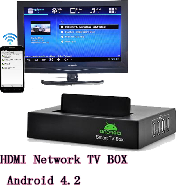 """Network HD media player HDMI TV BOX Android 4.2 OS 4x USB2.0 Support 2.5"""" inch hard disk black free shipping DHL 10pcs/lot"""