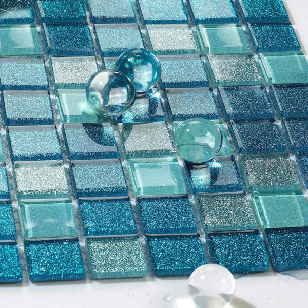 Crystal Glass Backsplash Kitchen Tile Blue Glass Mosaic Design Mirrored Wall Tiles Mosaic Floor