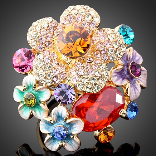 Austrian Crystal 18 K Gold Plated Zircon Wedding Jewelry Promotion Elegant Fashion Ruby Enamel Flower Engagement Rings For Women