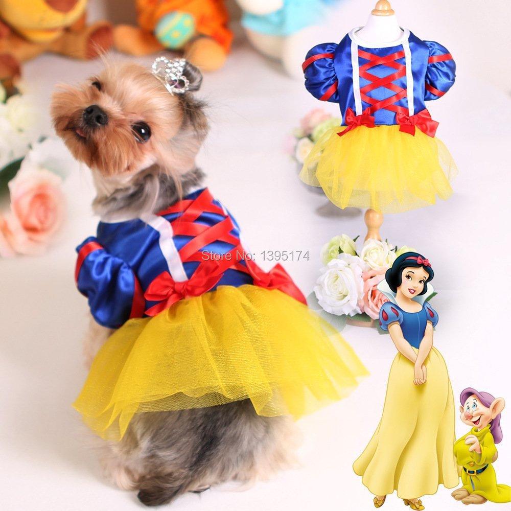 2016 New Dog Tutu Dress Pet Cat Costume Snow White Princess Puppy Dresses Wedding Party Summer Satin Clothes Skirts 20 - Eonice Technology Co., Ltd. store