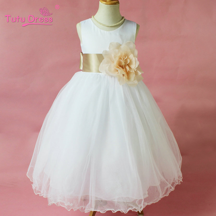 Flower girl petals dress children bridesmaid toddler for Wedding dress for girl