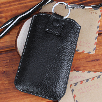 Dropshiping Black cow leather case for iphone 4 4g 4s 5s slip pounch hang strap  Cell Phone Case for Iphone 5s 4CPHC0012-5