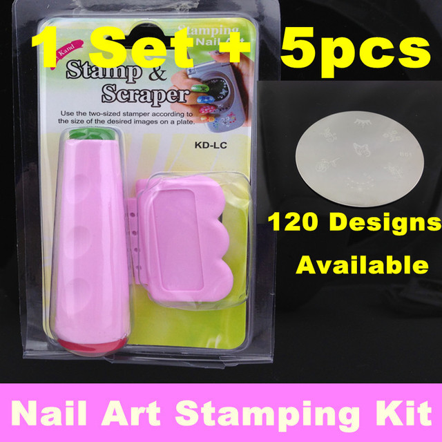 5Pcs Nail Art Stamp Stamping Template Plates + 1 set 2 Side Stamping Stamp Tools Scraping Knife Set , DIY Design
