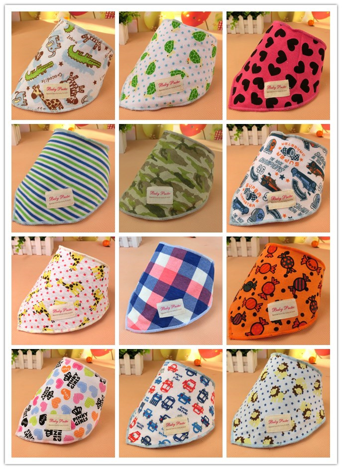 2016 New Style Cute Infant Baby Kid Toddler Bibs Triangle Head Scarf Babador Bandana Boy Girl Saliva Towel Cotton With Button(China (Mainland))