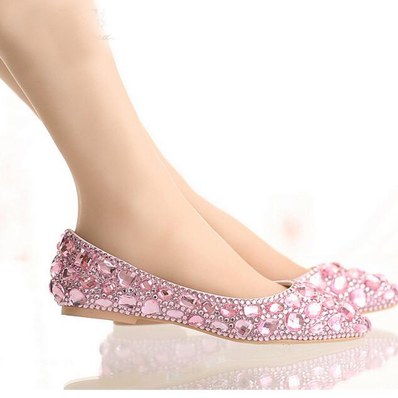 popular pink flat rhinestone wedding shoesbuy cheap pink
