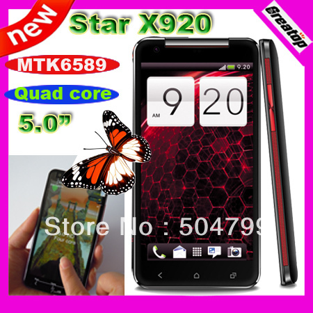 "Star X920 Quad core cell phone 5.0""IPS 1280x720 Android 4.2.1 MTK6589 Dual Sim 1GB RAM+8GB + stand cover SG post free shipping"