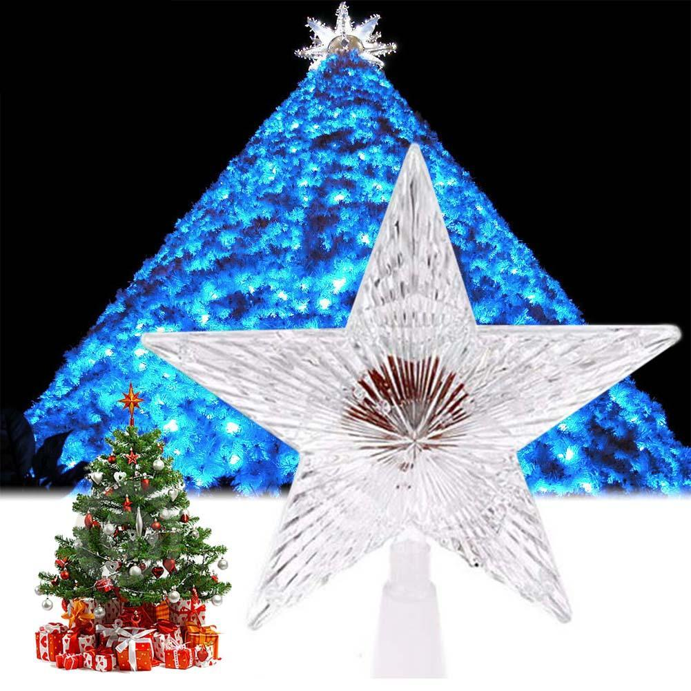 colorful changing xmas christmas tree topper star light led lamp decorations party lights christmas outdoor decor light