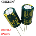 CNIKESIN 10pcs 100V220UF high frequency low resistance long life plug electrolytic capacitor 220UF 100V 13X20mm