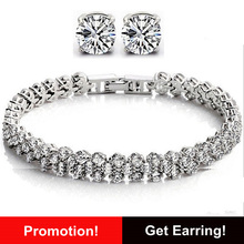 2016 New Hot Sale Luxury Crystal Bracelet Platinum Plated AAA Grade CZ Zirconia Women Chain & Link Bracelets WB08(China (Mainland))