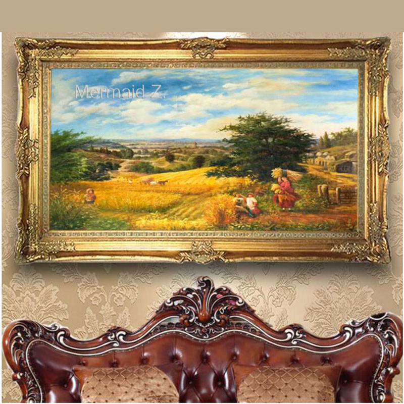 Hand-painted Thomas Kinkade Harvest wheat field Landscape Oil Painting On Canvas Thick oil painting Decor Living Room Bedroom(China (Mainland))