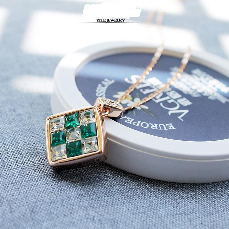4 Colors Cube Love Fashion Luxury Crystal Design Geometric Pendant Necklace 18K Gold / Silver Plated Imported Jewelry for women(China (Mainland))
