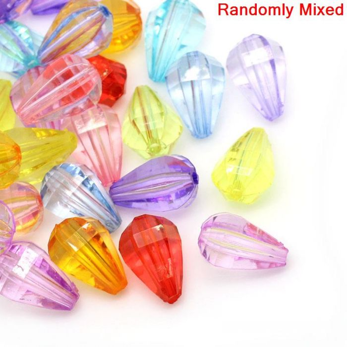 2015 Acrylic Spacer Beads Teardrop Mixed Faceted 16x11mm,Hole:Approx 1.8mm,100PCs(China (Mainland))