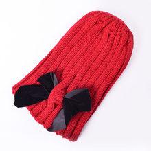 น่ารัก Bows เด็กหมวกเด็กฤดูหนาวฤดูหนาวเด็กหมวกถักเด็กทารกเด็กผู้หญิงหมวก Bonnet Casquette Enfant muts(China)