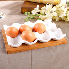 Factory direct export European creative ceramic egg tray egg simple and stylish kitchen storage tray