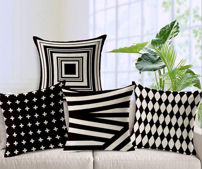 Stripe Grid Cushion Covers Decorative Throw Pillows Black