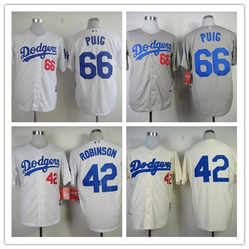 Los Angeles Dodgers #42 Jackie Robinson Jersey #66 Joc Pederson Jersey White Cream grey Baseball Jerseys(China (Mainland))