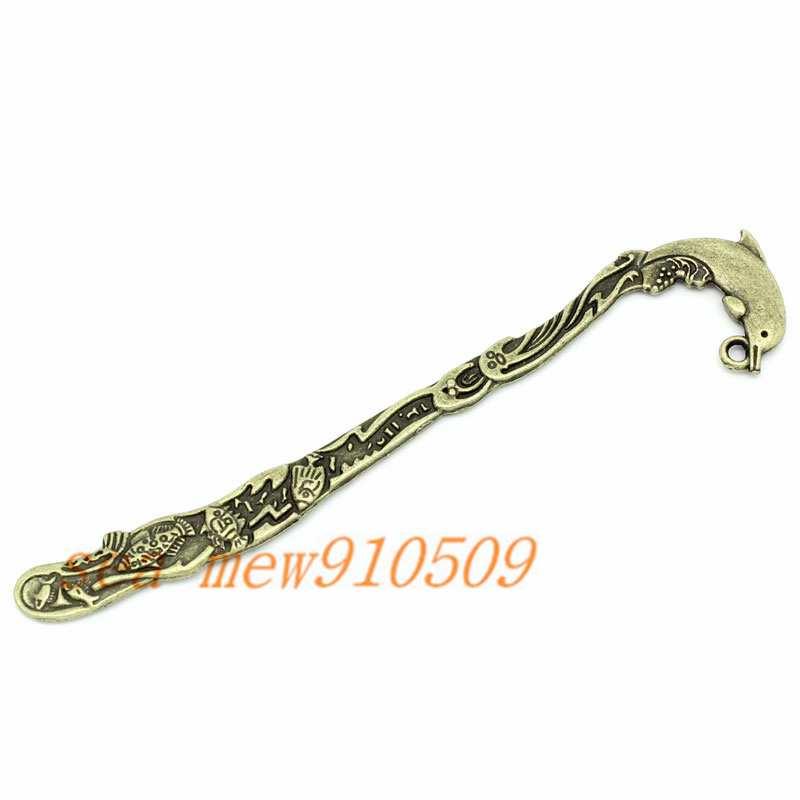 (20 pieces/lot) 26*124MM antique bronze plated vintage style metal zinc alloy dolphin bookmarks hm293(China (Mainland))
