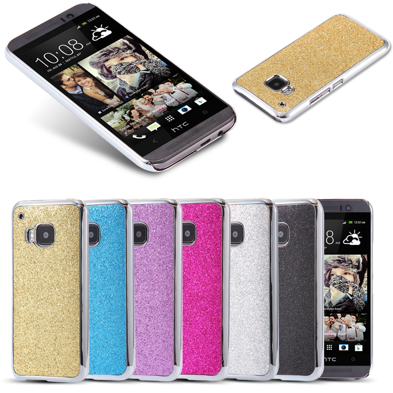 Bling Powder Phone CaseFor HTC One M9 Metal Plating Plastic Frame + Shining Hard Back Cover Girl Woman Bag For HTC One M9(China (Mainland))